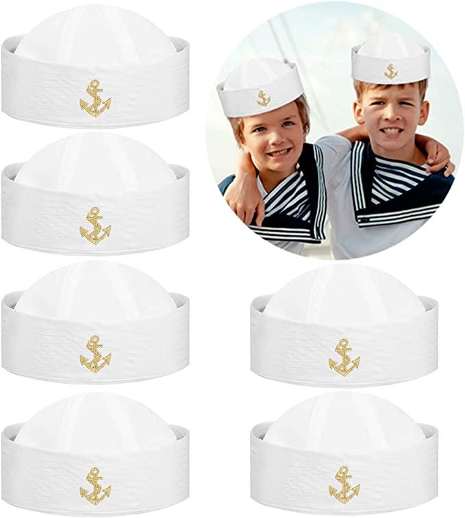 Amazon Com Proloso 6 Pcs White Sailor Hats Nautical Navy Yacht Captain Cap Doughboy Costume Accessory Dress Up Part Dressup Party Dress Accessories Sailor Hat