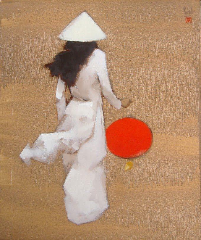 Nguyen Thanh Binh Ao Dai And Lantern Dessin Japonais Peinture