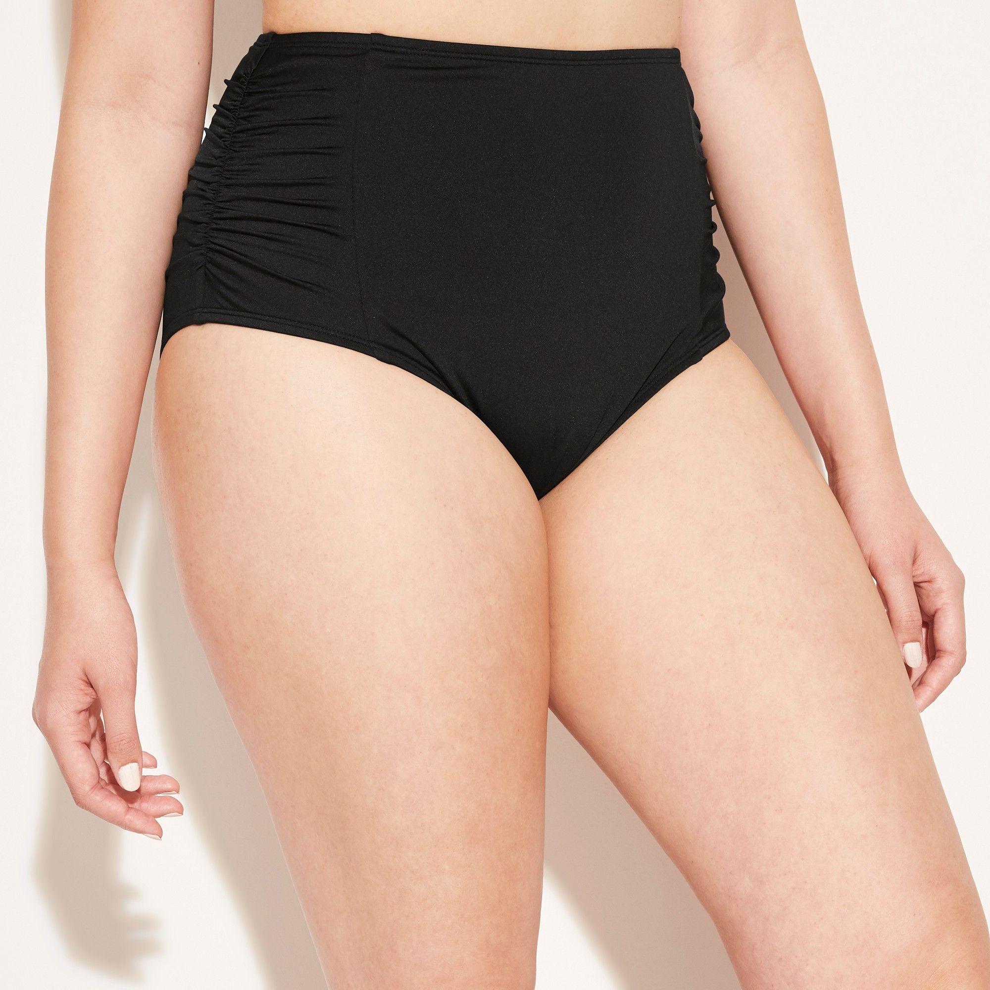 00fac38b775 Women's Full Coverage Ruched High Waist Bikini Bottom - Kona Sol Black XL,  Black Universe