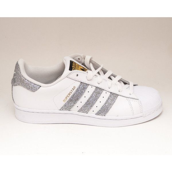 411fc7023f3a Glitter Limited Edition Silver Adidas Superstars Ii Fashion Sneakers...  ( 200) ❤ liked on Polyvore featuring shoes