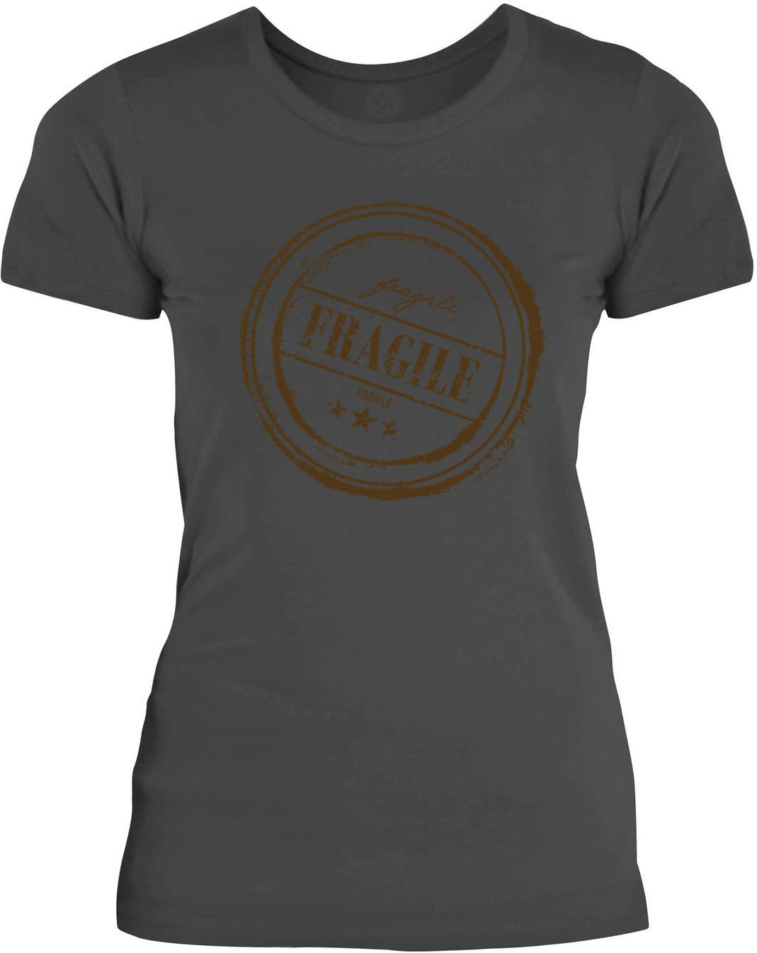 Big Texas Vintage Fragile Stamp (Brown) Womens Fine Jersey T-Shirt