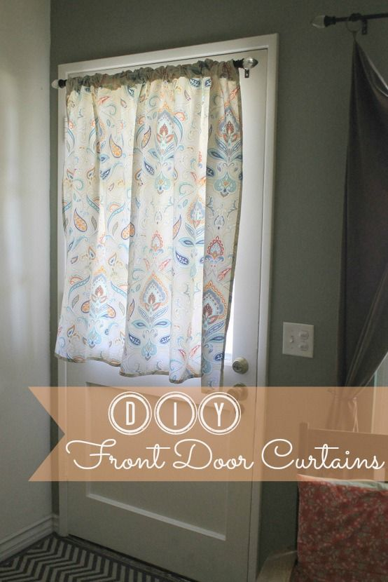 Diy Shower Curtain To Front Door Curtain Tutorial Front Door Curtains Diy Curtains Curtains