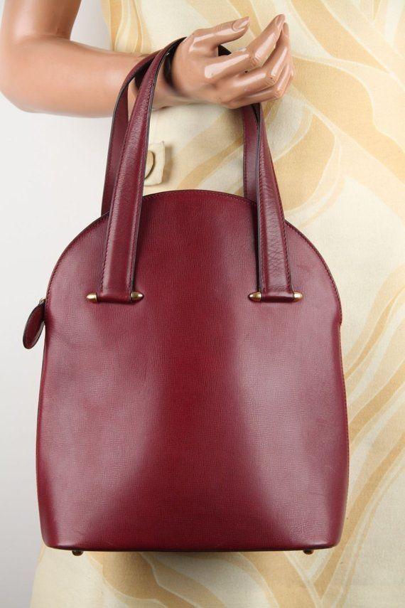 Authentic CARTIER Vintage Burgundy Wine Leather TOTE HANDBAG Purse satchel f28b1ed80a