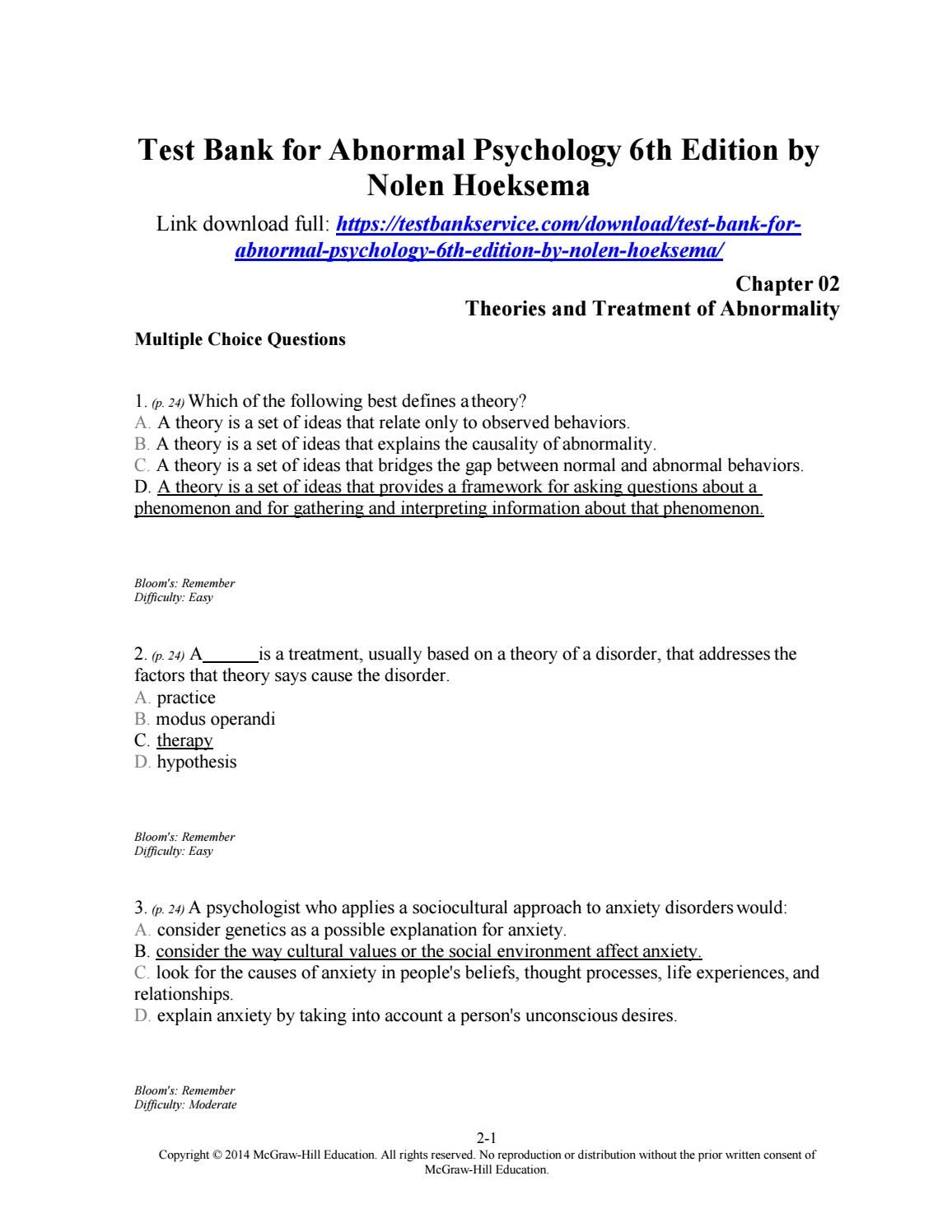 ... study guide ebook Array - download test bank for abnormal psychology  6th edition by nolen rh pinterest com
