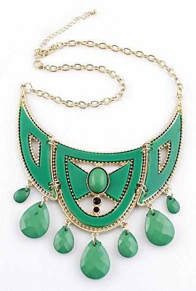 Green Drop Gemstone Tassel Gold Collar Necklace