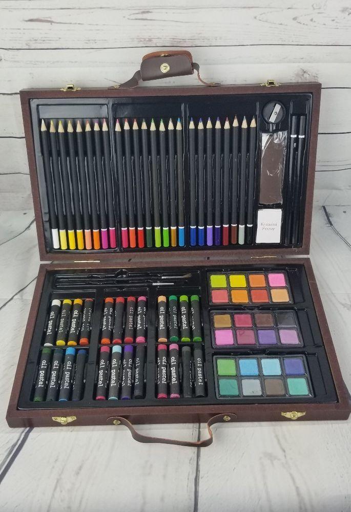 Deluxe Art Set, Portable Artist Studio in Wooden Case.