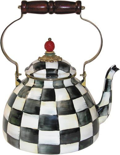 MacKenzie-Childs Courtly Check Enamel Tea Kettle 3 Quart -- Click image to review more details.