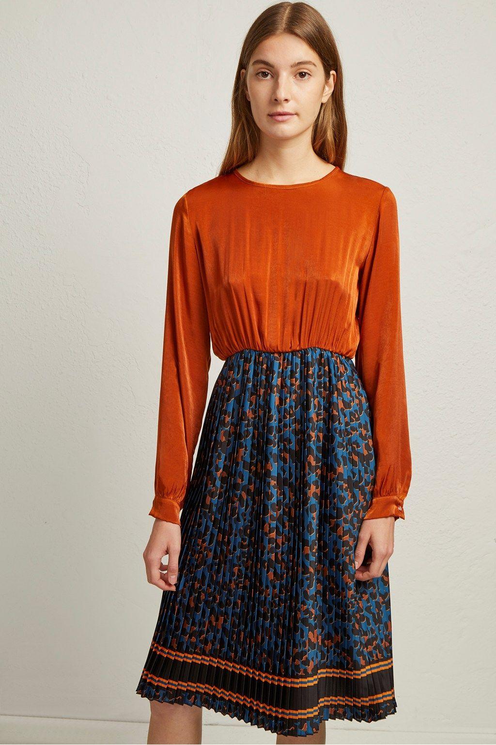 Pleated Leopard Print Dress  6a8638b11