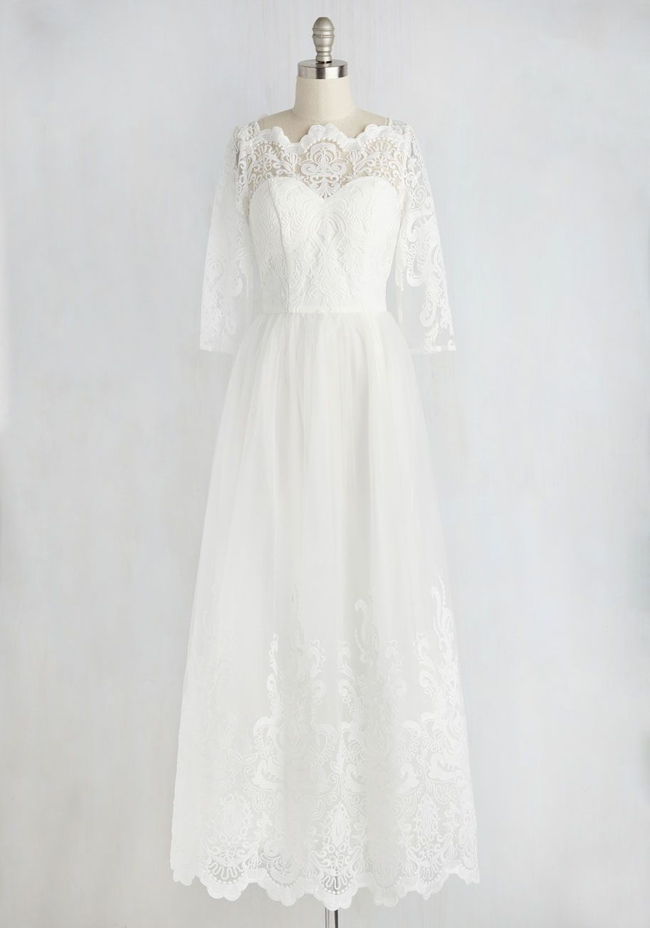 Sophisticated Ceremony Dress In White