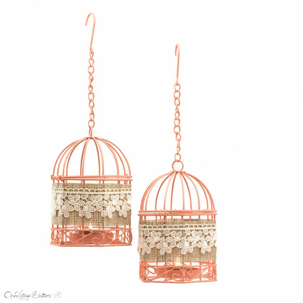 Wedding Favors - Set of 2 Peach Wire Bird Cages - Metal Tealight ...