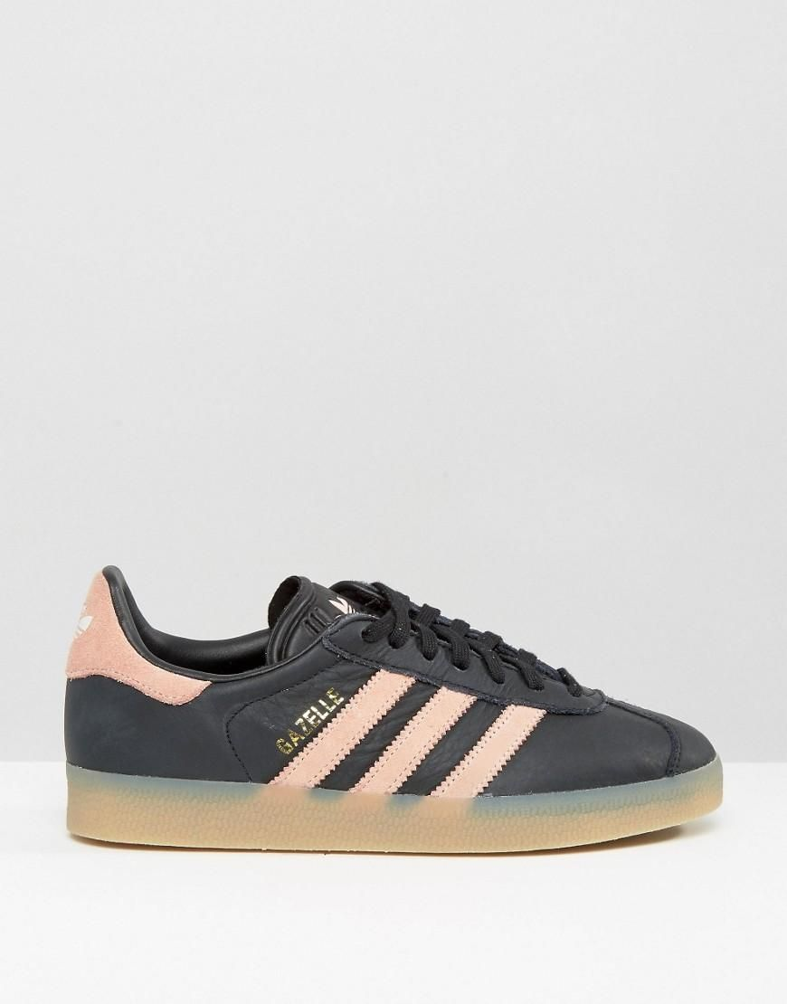online store eacc9 a9e42 Pink   adidas Originals Black And Pink Gazelle Sneakers With Gum Sole at  ASOS