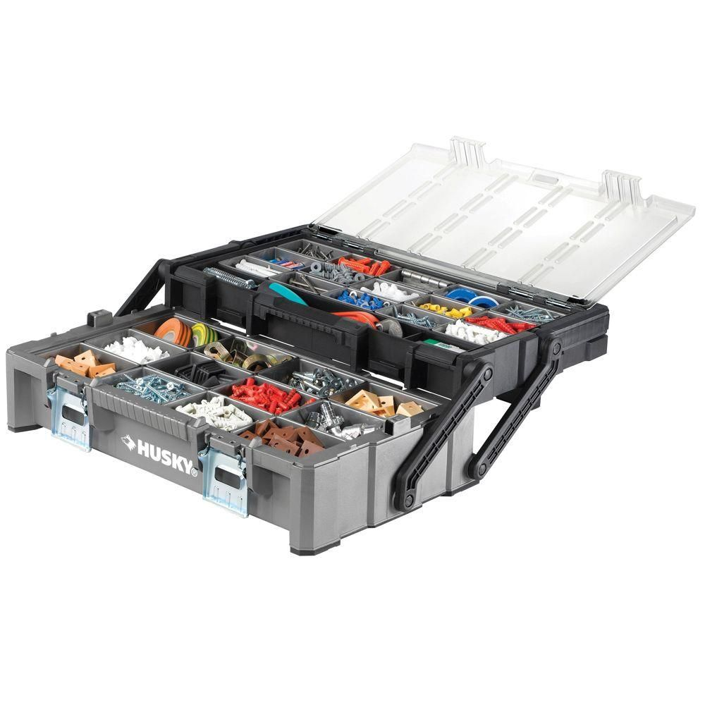 Husky 22 In Cantilever Plastic Organizer With Metal Latches