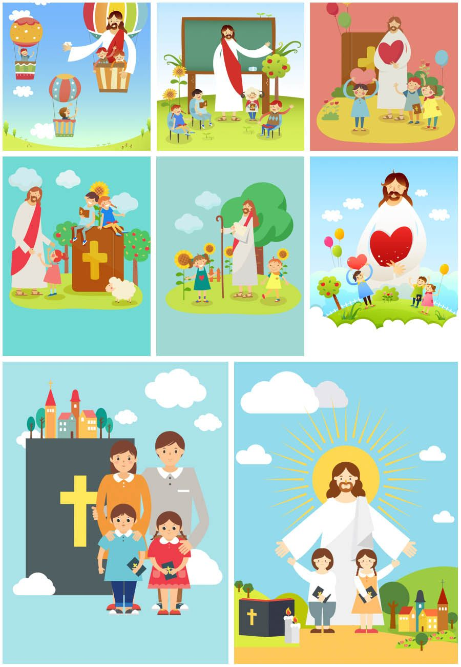 Jesus Christ with children vector