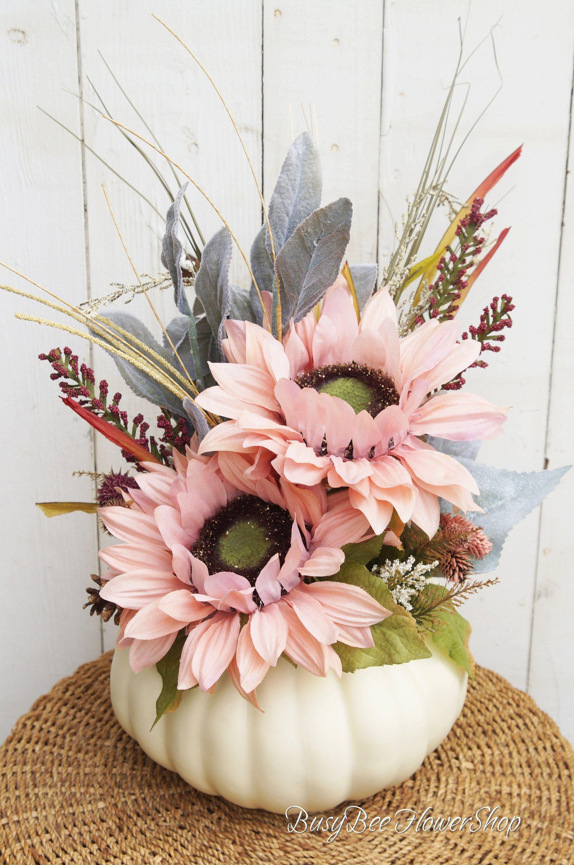 NEW! FALL White and Pink Pumpkin Floral Centerpiece, Pumpkin Fall Flower Arrangement, Thanksgiving Table Decor, Pumpkin Decor for Fall