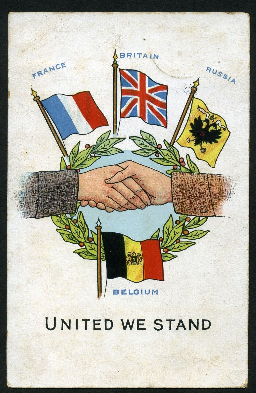Old Postcard Ww1 United We Stand Allied Flags Address