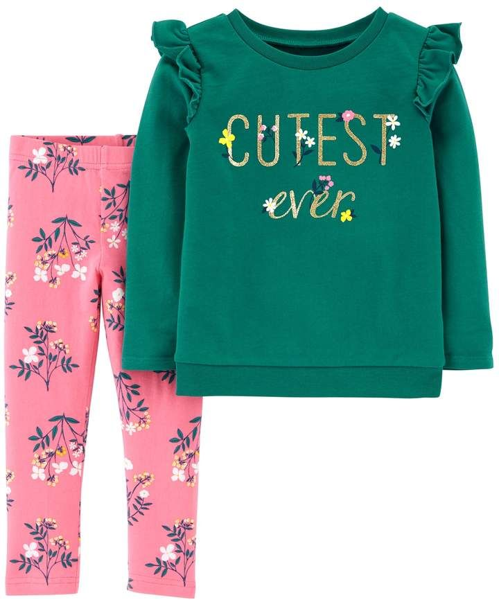 149c7e7dd3eb3 Carter's Toddler Girl Cutest Ever Floral French Terry Top & Leggings Set