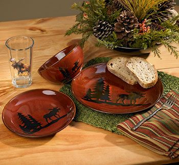 Moose 12 Piece Woodland Dinnerware Set Wild Wings