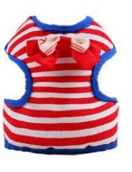Red, White, and Blue Striped Harness with Bow Tie + Matching Lead Leash