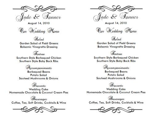 Wedding Menu Template  Lesley  Bruno  July