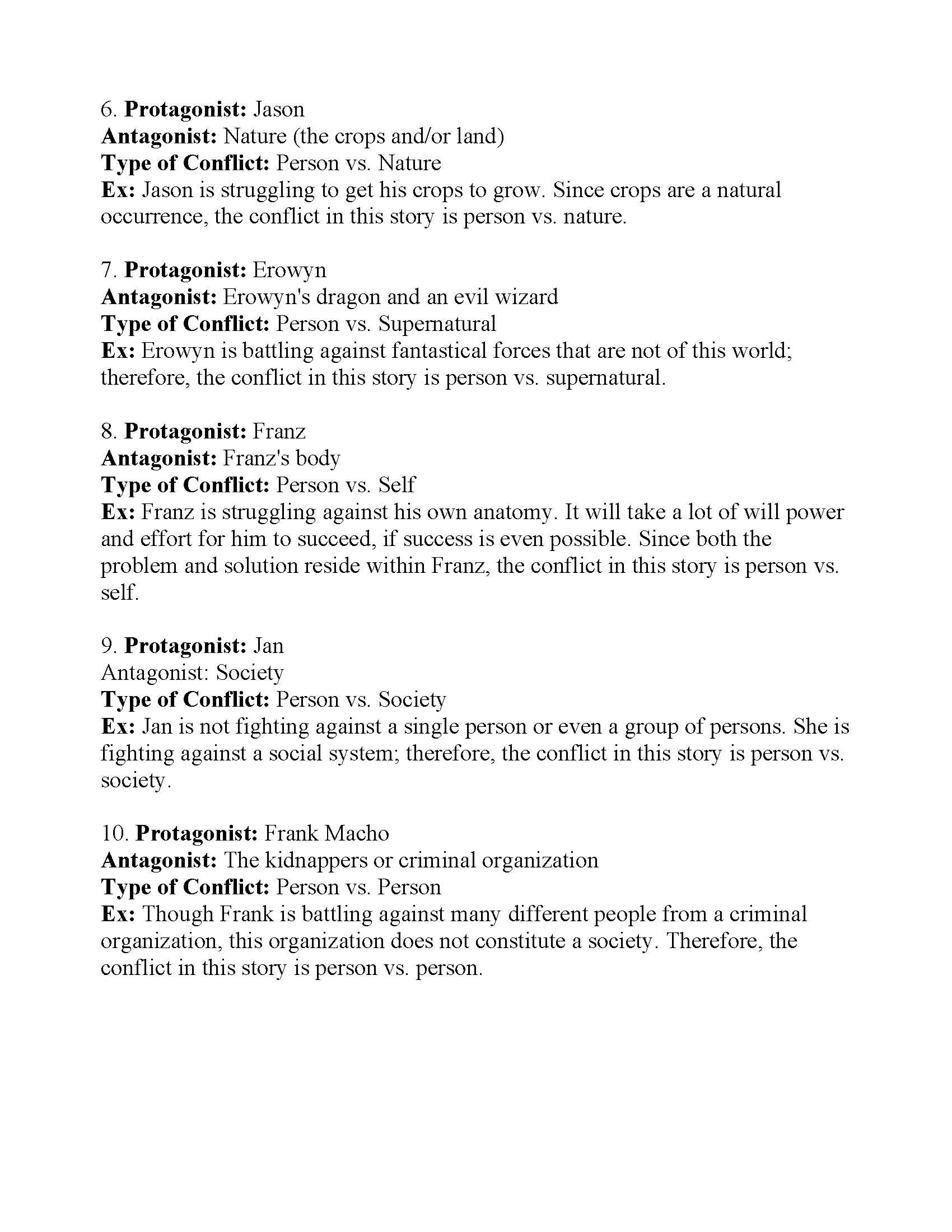 Types Of Conflict Worksheet 4