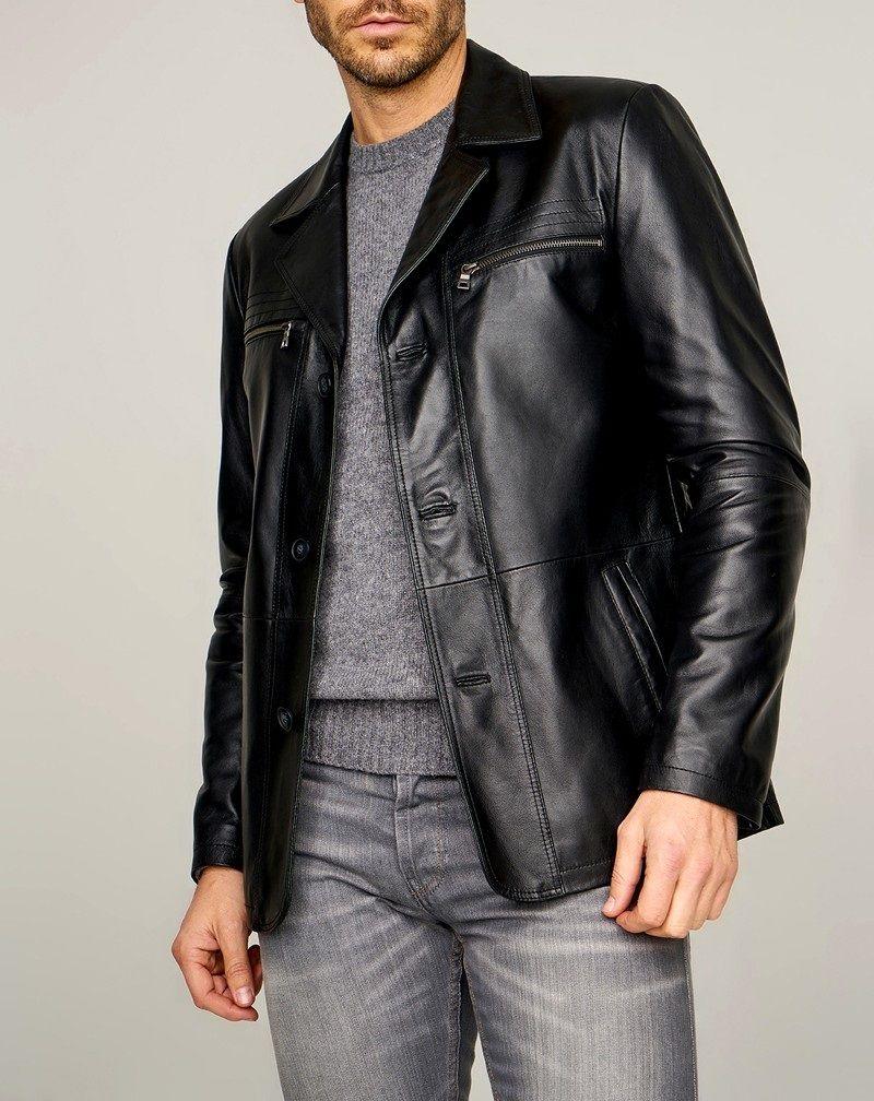 Mens Classic Elegant Pure Black Leather Jacket