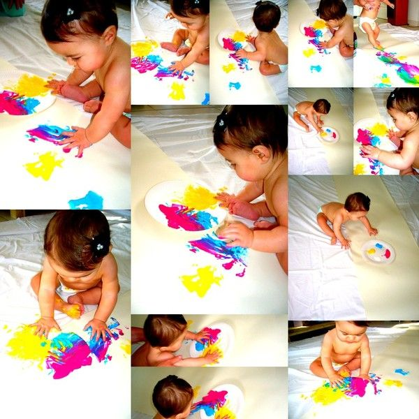 1er Atelier Peinture pour Sarah 9 mois :)))))   Peinture bébé, Activite bebe, Eveil bebe