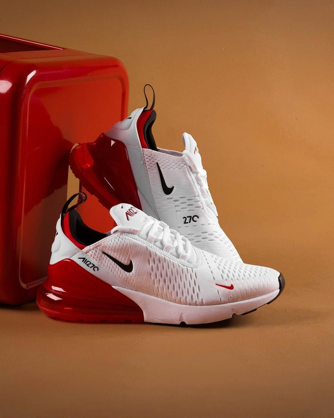 "free shipping 42c0c 6ee0f Footaction on Instagram  ""This White Black University Red looks super clean  on the  Nike Air Max 270. Available in stores and online NOW!""  Sneakers"