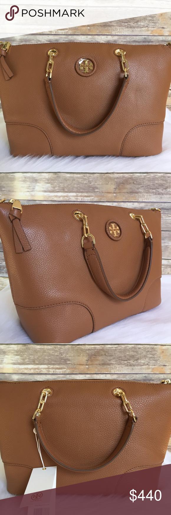 e917df045e1e Crossbody Bag · Tory Burch whipstitch logo small slouchy satchel New with  tag Color  bark brown Tory Burch