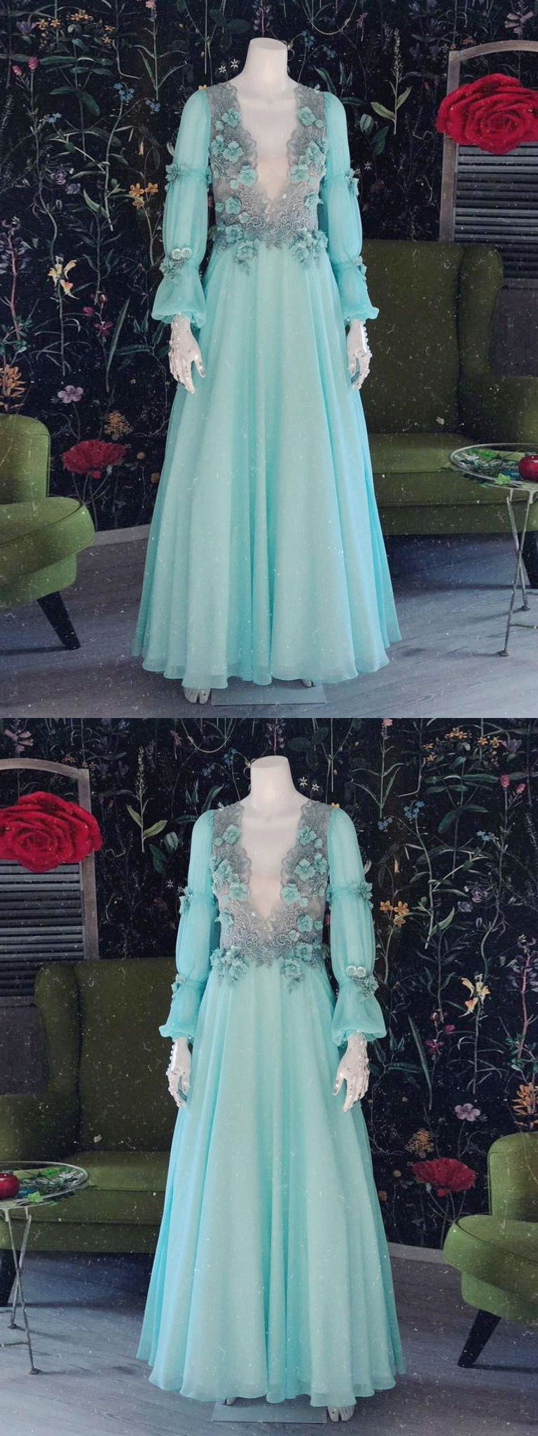 chic aline v neck applique prom dresses unique long sleeve