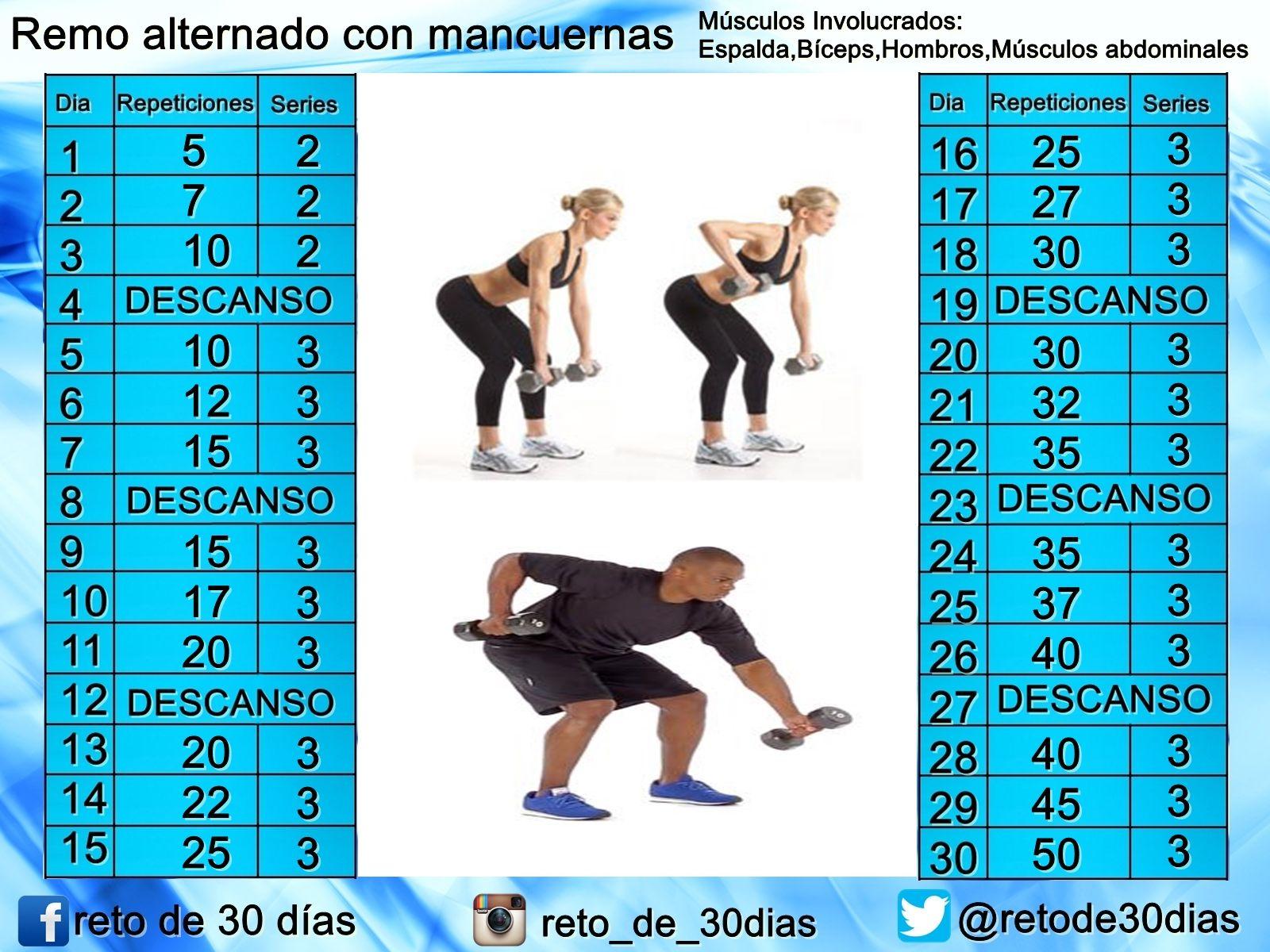 Adiós A Los Rollitos En La Espalda Remo Alternado Con Mancuernas Workout Loose Weight Fitness Inspo