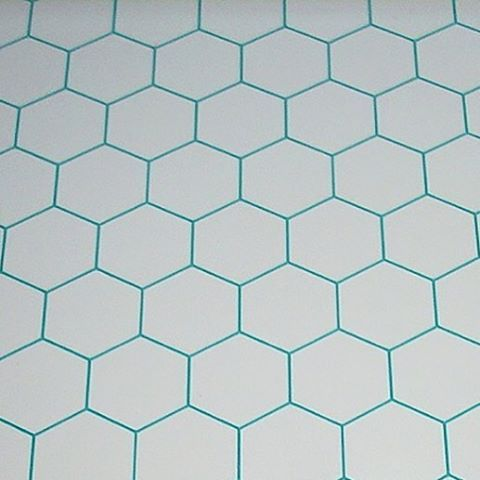 hexagon tiles teal grout white tile floor