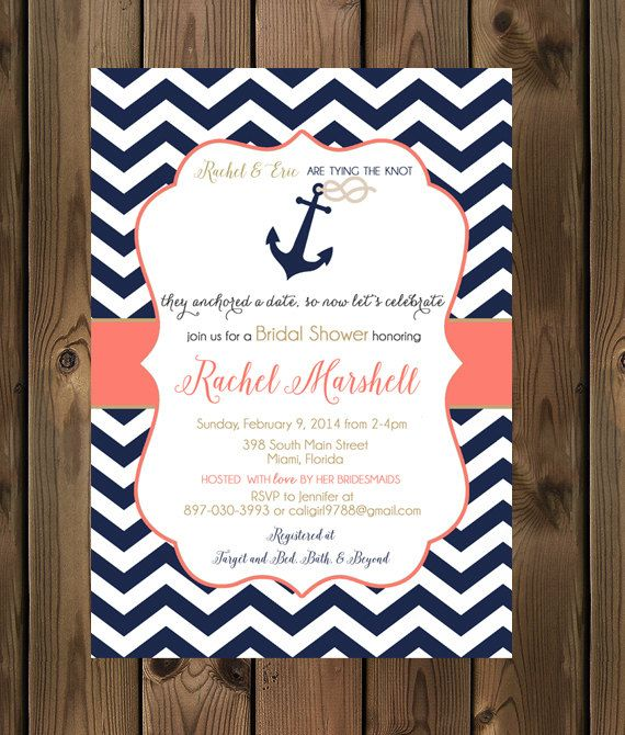 Nautical Bridal Shower Invitations Wording