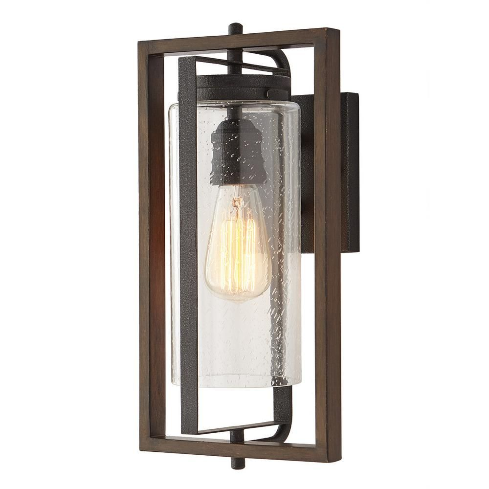 Home Decorators Collection Palermo Grove 1 Light Gilded Iron Outdoor Wall Lantern Sconce With Walnut Wood Accents 7972hdcgidi In 2020 Outdoor Wall Lantern Wall Lantern Wood Accents