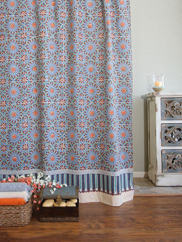 Mosaique Bleue Moroccan Tile Print Blue Shower Curtain Blue
