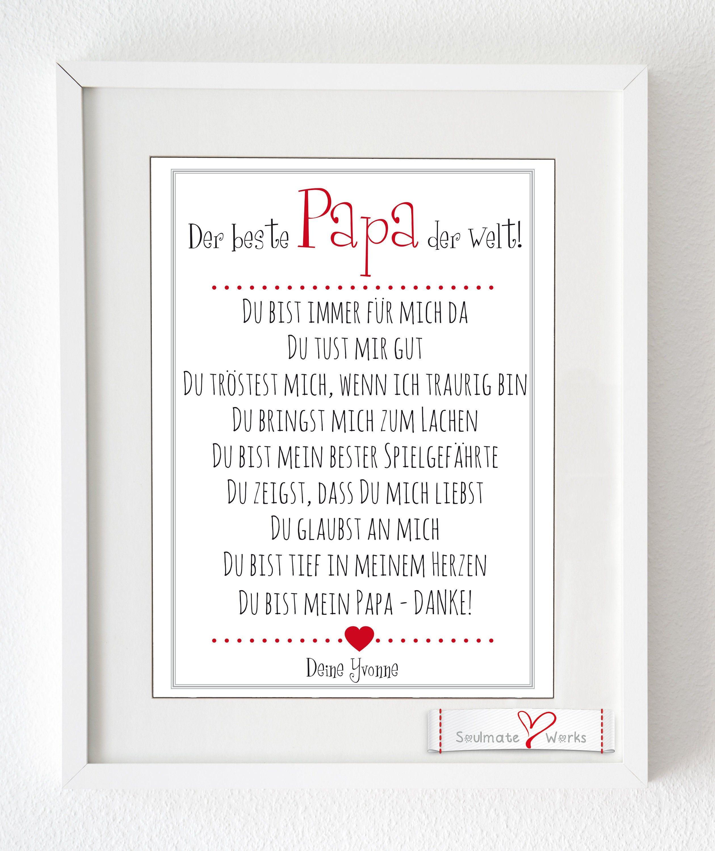 """Photo of Kunstdruck  """"Der beste Papa der Welt"""" personalisiert mit dem Kindernamen – tolles Geschenk für den Vater / Papa als Druck oder Leinwand"""