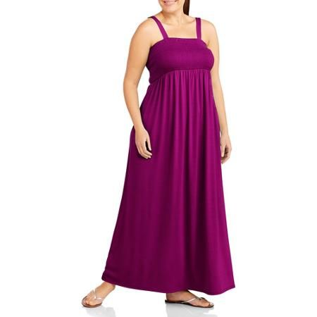 Faded Glory Women S Plus Size Straplesss Smocked Maxi Dress