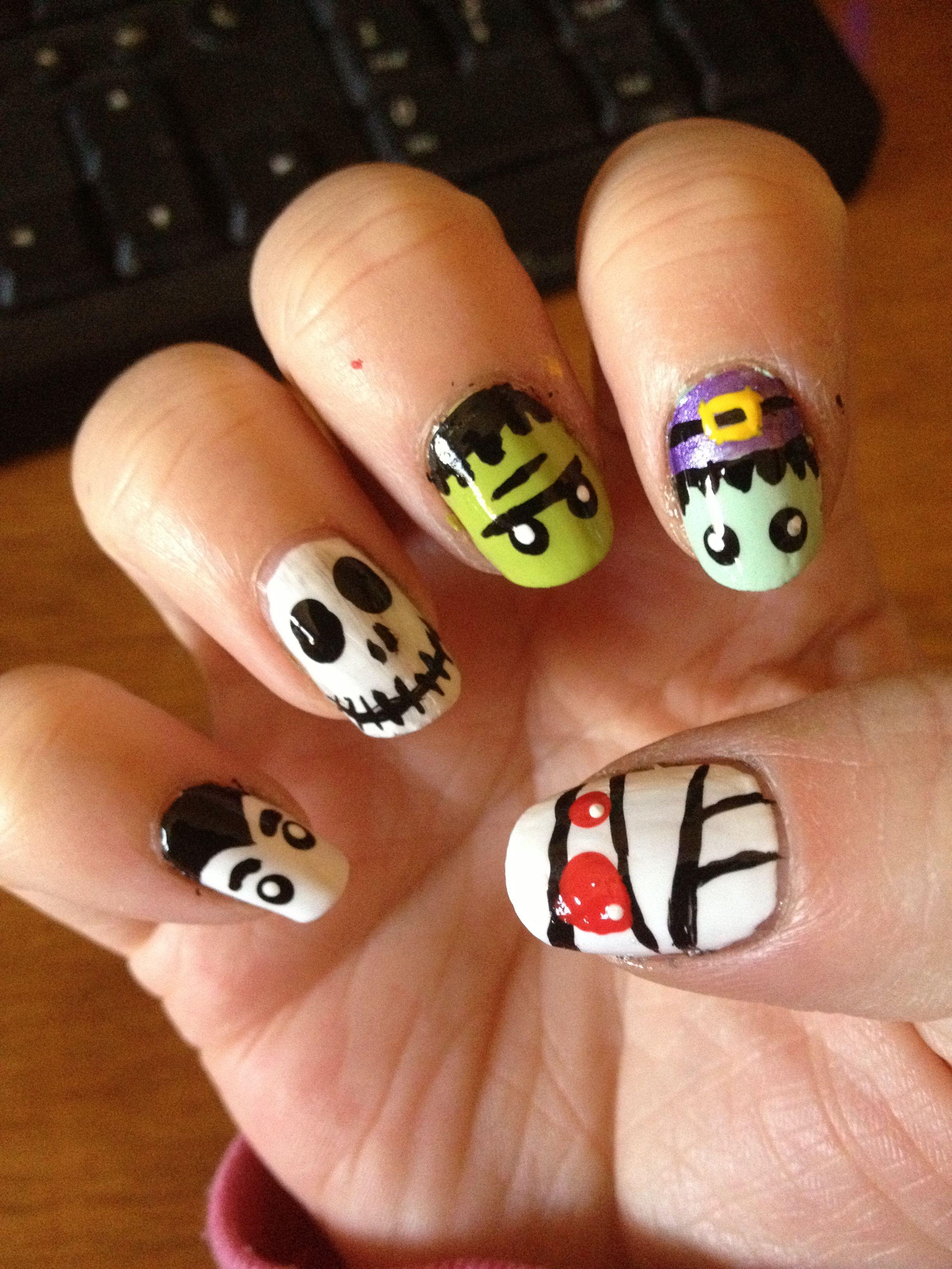 nightmare before christmas halloween nails