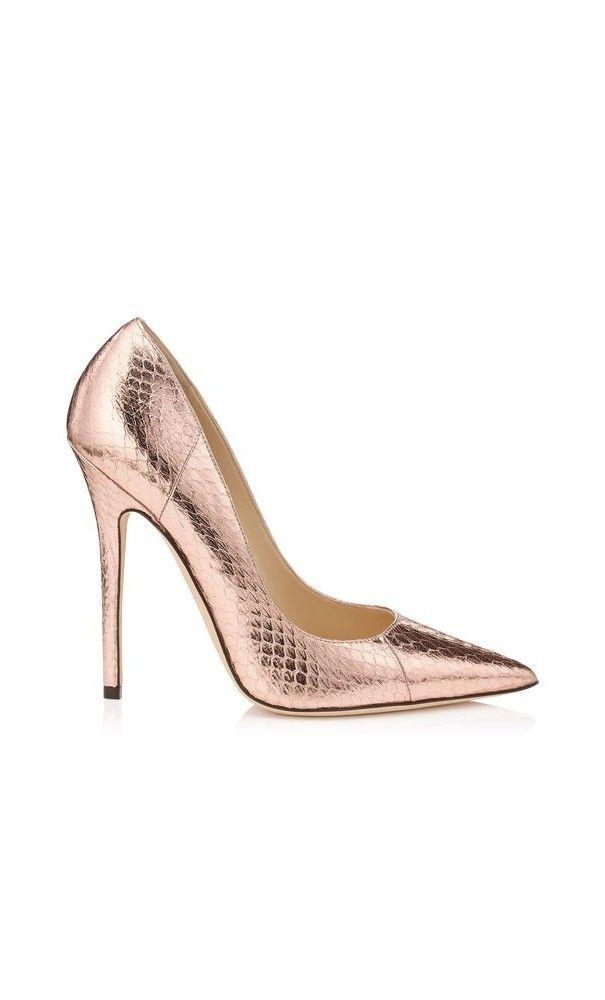 Jimmy Choo Anouk Ballet Pink Metallic Elaphe Pointy Toe #Pumps. #women