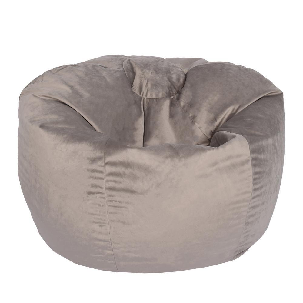 Arabella Oyster Velvet Bean Bag