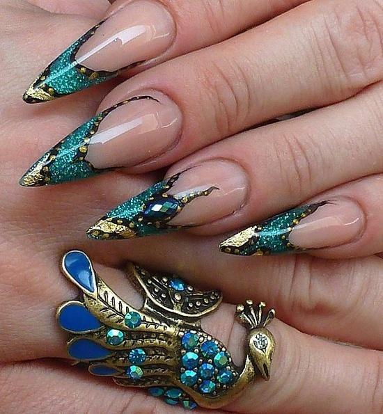 Stiletto Nail Art: Turquoise Stilettos And Gold Leaf Nail Art