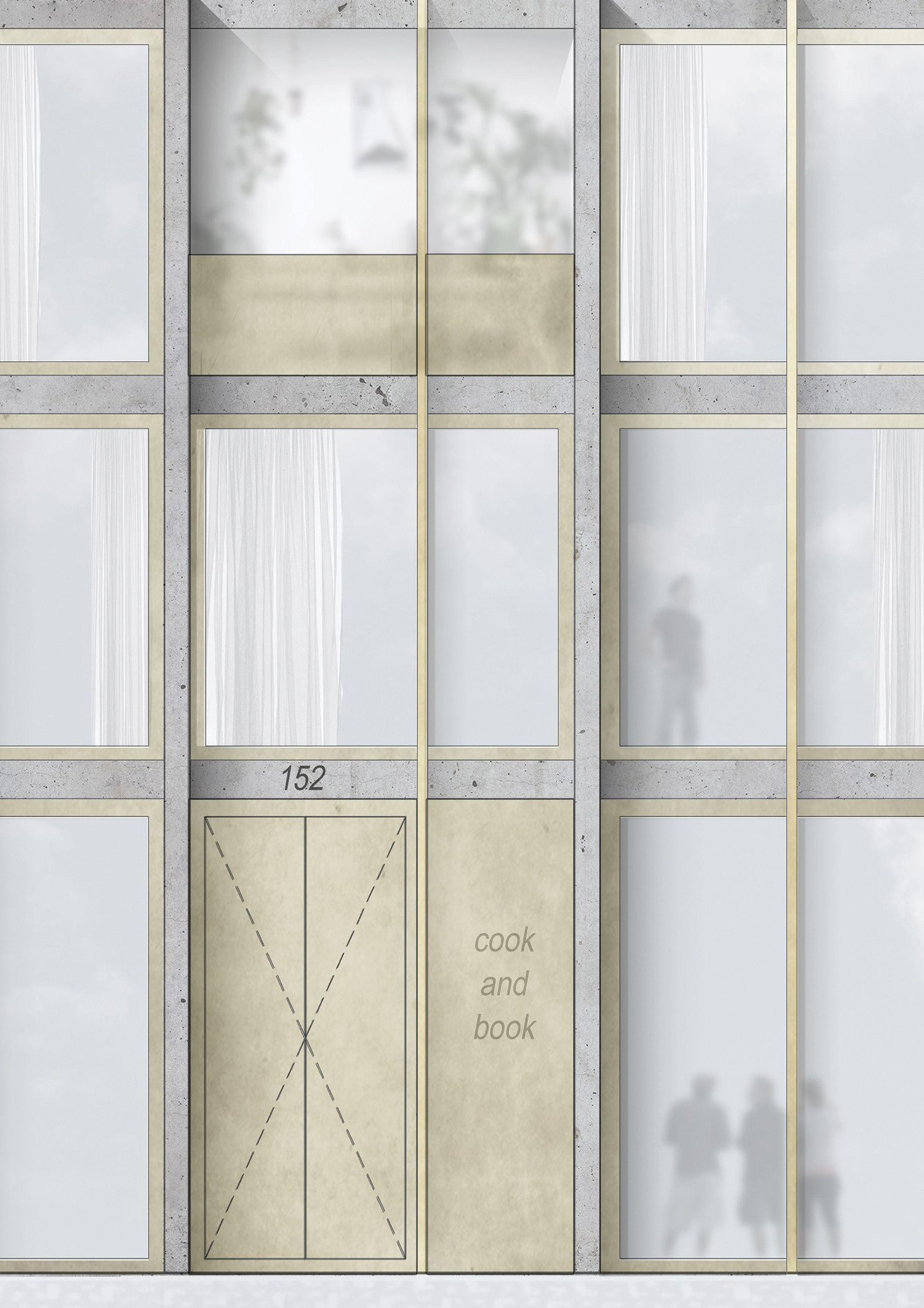Concrete Housing Elevation Collage Johan Metzger La Cambre