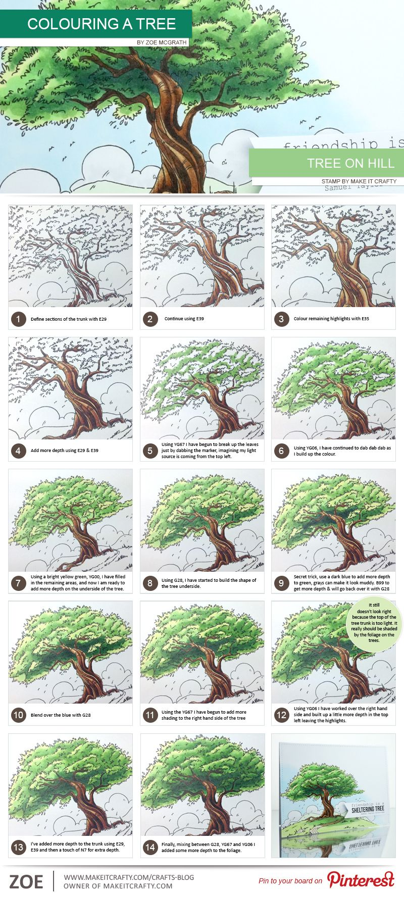 make-it-crafty-tree-step-by-step | Coloring | Pinterest | Crafty ...