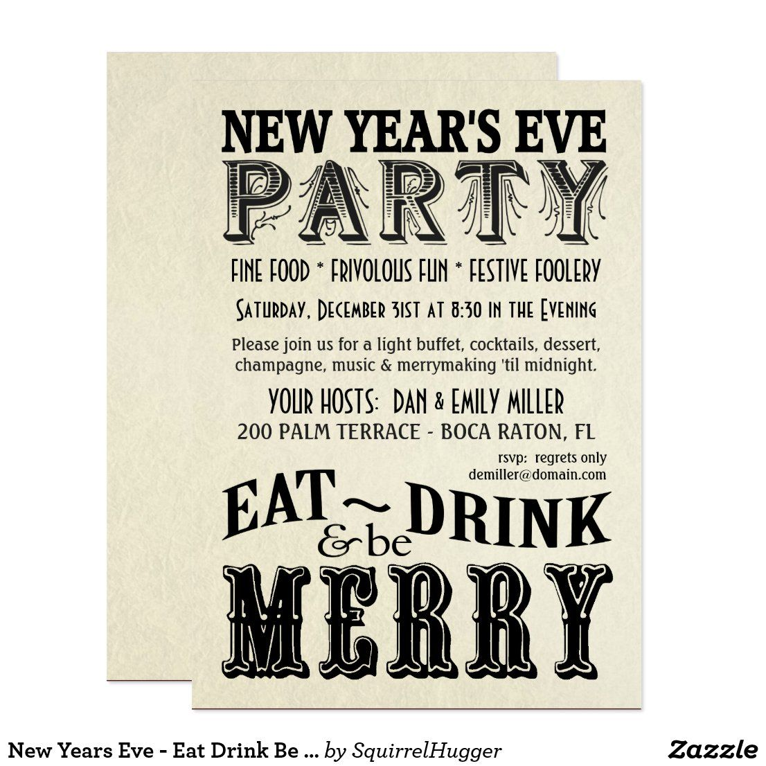 New Years Eve Eat Drink Be Merry Invitations Zazzle Com Invitations Holiday Party Invitations New Years Eve