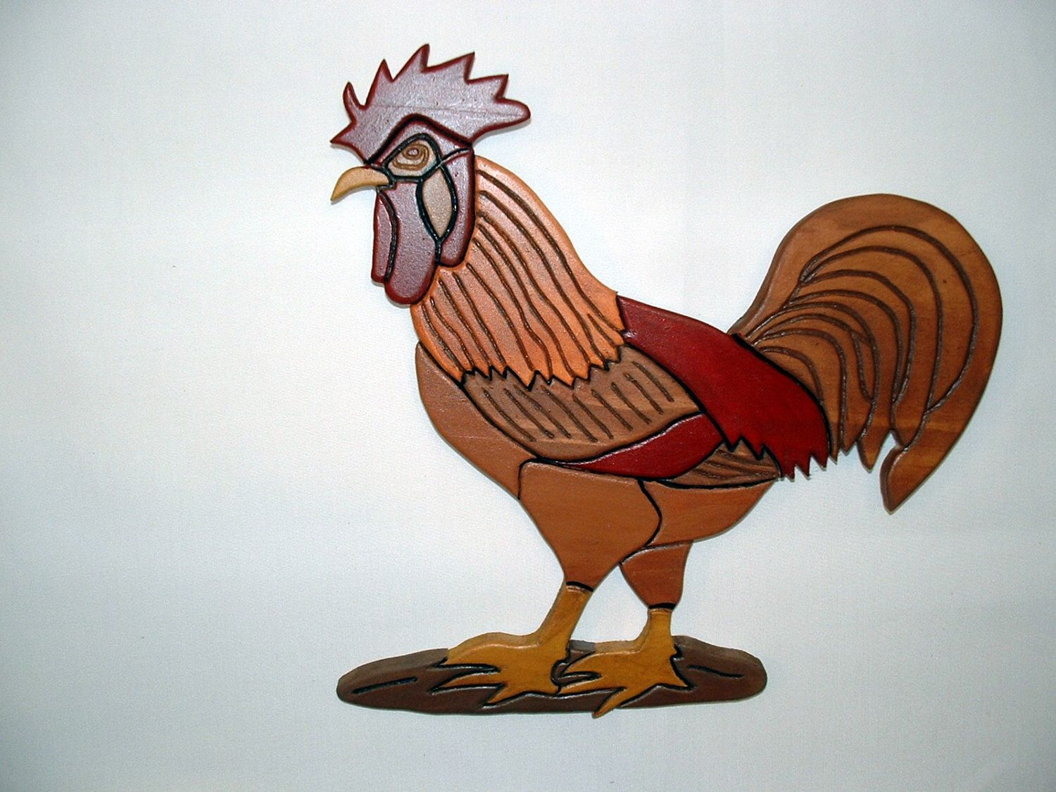 Red Rooster, Wall Art, Wood Sculpture, Kitchen Decor | Intarsia ...
