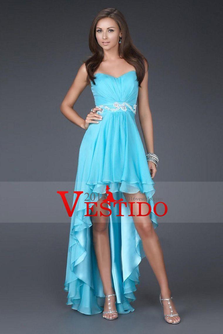 2015 Colección de novia vaina / columna de gasa asimétrico vestidos ...