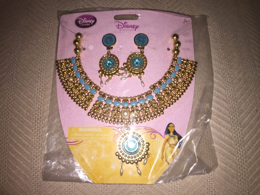DISNEY STORE PRINCESS Pocahontas Costume  JEWELRY NECKLACE AND EARRINGS  NWT