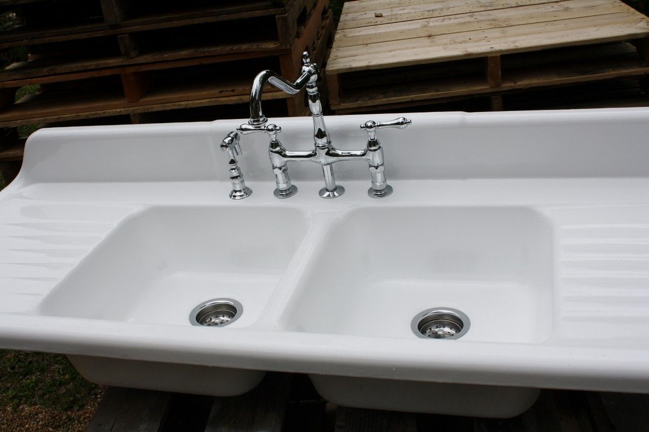Cast Iron Farmhouse Sink  Double Basin Double Drain Board Fauce