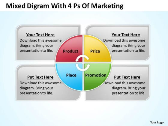 strategy powerpoint template mixed digram with 4 ps of marketing