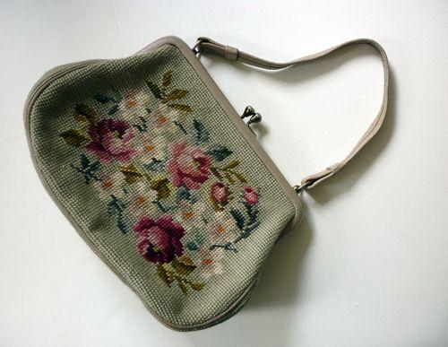 hübsche Gobelin Blumen Handtasche