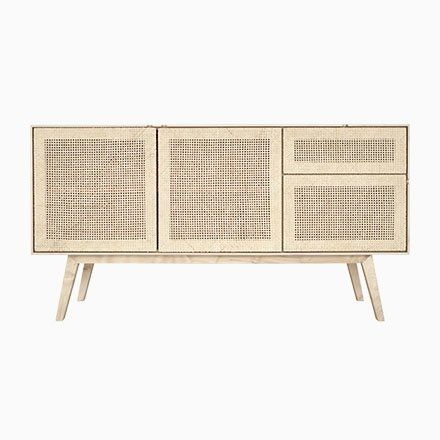 Sideboard in Natural Oak and Rattan by Lind + Almond for Jönsson Inventar